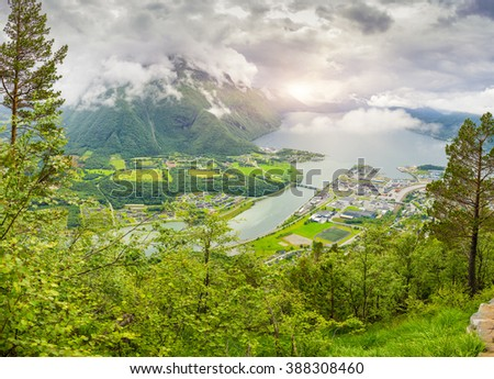 Panoramic view on Andalsnes City, Mountain Landscape and Fjord View, Rauma Municipality in More og Romsdal county, Norway.  - stock photo