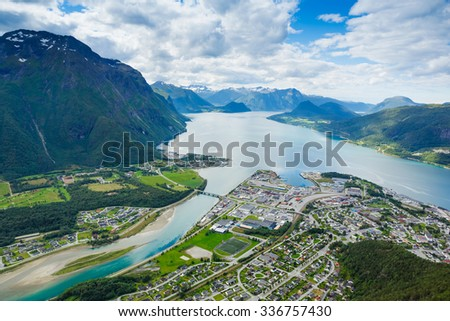 Panoramic view on Andalsnes City, Norway Mountain Landscape - stock photo