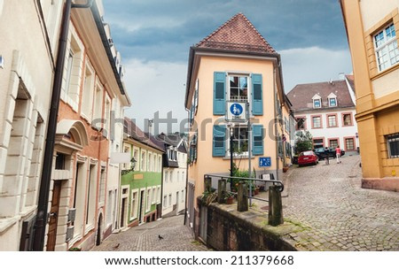 Panoramic view on Baden Baden street, Germany. - stock photo
