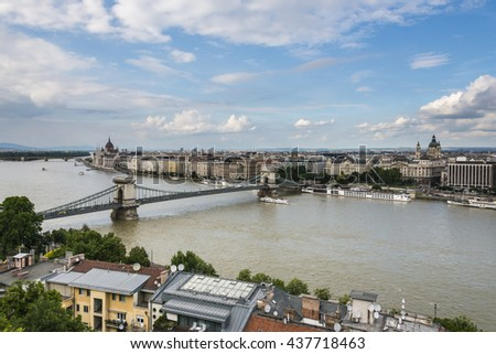 Panoramic view on Danube and Budapest in sunny day from Buda Castle.  Hungary