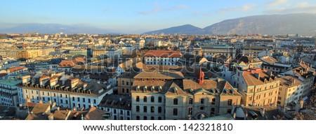 Panoramic view on Geneva city and Saleva mountain, Switzerland - stock photo