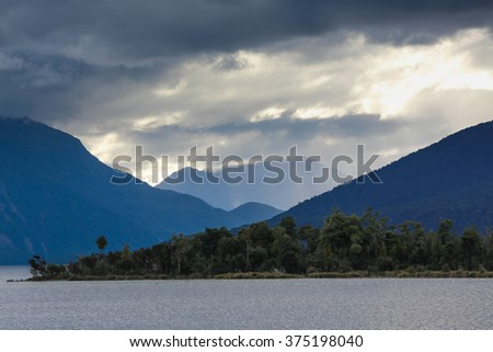 Panoramic view on landscape of New Zealand at sunset, South Island  - stock photo
