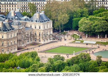 Panoramic view on Luxembourg Gardens from Montparnasse Tower, Paris. France, Europe.