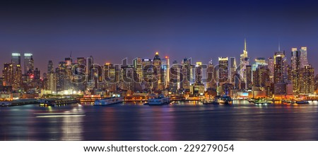 Panoramic view on Manhattan, New York - stock photo