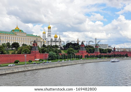 Panoramic view on Moscow Kremlin, Russia - stock photo