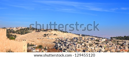 Panoramic view on Mount of Olives in Jerusalem (Israel) - stock photo