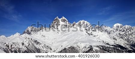 Panoramic view on Mount Ushba at sunny day. Caucasus Mountains. Svaneti region of Georgia. - stock photo