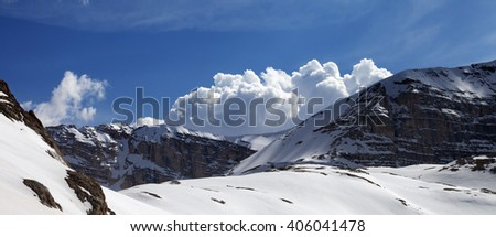 Panoramic view on mountains in nice day. Turkey, Central Taurus Mountains, Aladaglar (Anti-Taurus) view from plateau Edigel (Yedi Goller) - stock photo
