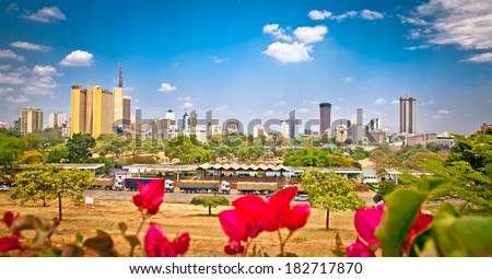 Panoramic view on Nairobi , Kenya.  Africa. - stock photo