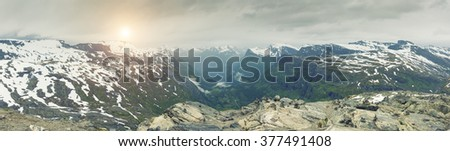 Panoramic View On Norway Mountain Landscape, Dalsnibba - Nibbevegen, Norway, Norway - stock photo