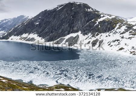 Panoramic View On Norway Mountain Landscape Djupevatn, Norway - stock photo