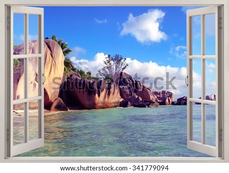 Panoramic view on old stones coastline Seychelles