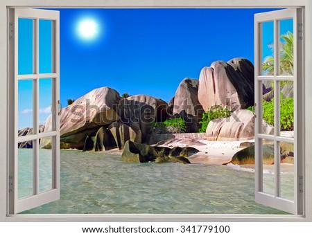 Panoramic view on old stones coastline Seychelles - stock photo