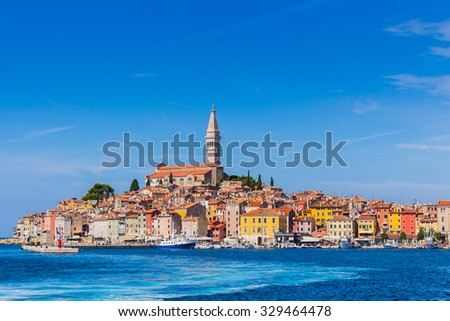 Panoramic view on old town Rovinj from harbor. Istria peninsula, Croatia - stock photo