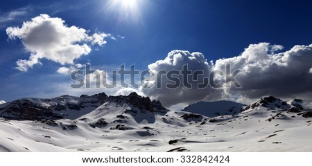 Panoramic view on plateau covered snow. Turkey, Central Taurus Mountains, Aladaglar (Anti-Taurus), plateau Edigel (Yedi Goller).  - stock photo