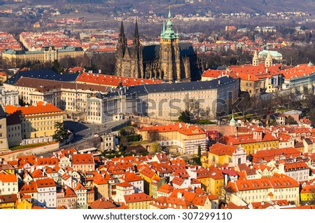 panoramic view on Prague castle and old town from above, Czech Republic - stock photo