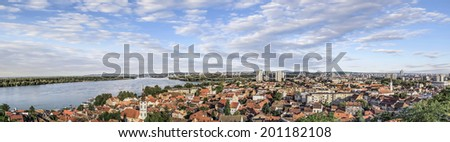 Panoramic view on river Danube from Gardos Tower lookout, on town of Zemun and Belgrade, Republic of Serbia. - stock photo