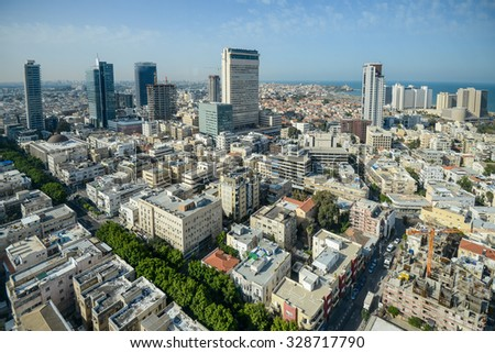 Panoramic view on roofs  on the modern buildings background . - stock photo