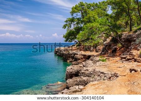 Panoramic view on sea coast near Kemer, Antalya, Turkey - stock photo