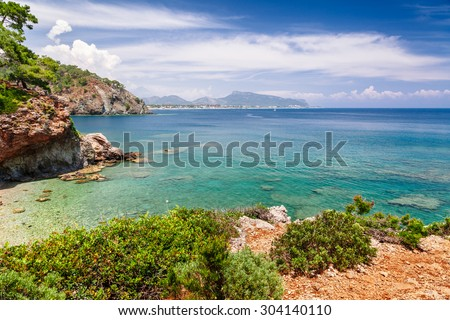 Panoramic view on sea coast near Kemer, Antalya, Turkey