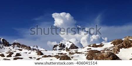 Panoramic view on snowy rocks at nice day. Turkey, Central Taurus Mountains, Aladaglar (Anti Taurus) view from plateau Edigel (Yedi Goller) - stock photo