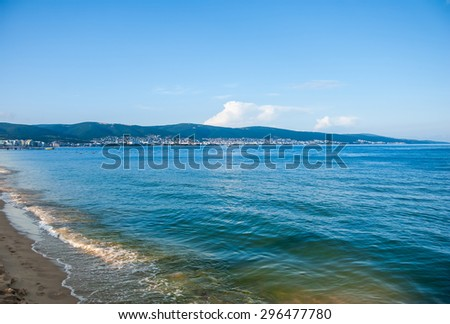 Panoramic view on Sunny Beach on Black sea in Bulgaria - stock photo
