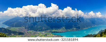 Panoramic View On Switzerland Mountain Landscape - stock photo