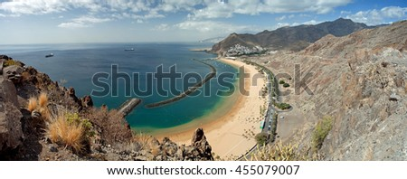 Panoramic view on Teresitas beach near Santa Cruz de Tenerife on Canary Islands, Spain