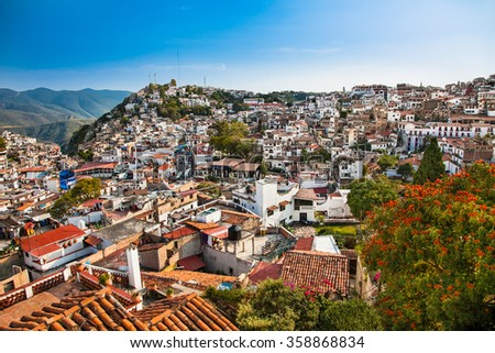 Panoramic view on Texco traditional colonial city in Mexico, Latin America. - stock photo