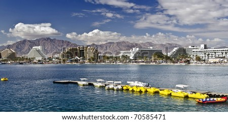 Panoramic view on the Aqaba gulf, water sport spot and resort hotels in Eilat city, Israel - stock photo