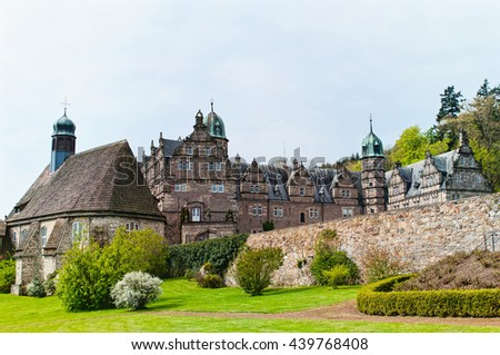Panoramic view on the castle Emmerthal. Lower Saxony. Germany