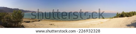 Panoramic view on the Dead sea beach in the summer late afternoon, Israel.