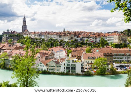 Panoramic view on the magnificent old town of Bern, capital of Switzerland - stock photo