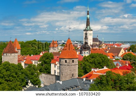 Panoramic view on the Old Town of Tallinn in summer; GPS information is in the file - stock photo