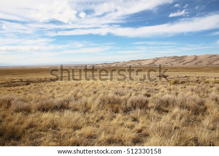Panoramic view on the the dunes of Great Sand Dunes National Park, Colorado, United States of America, USA.
