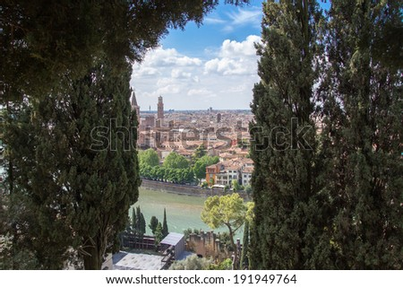 Panoramic view on Verona, Italy - stock photo