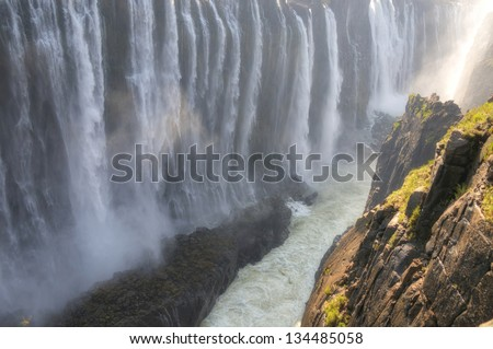 Panoramic view on Victoria Falls in Zimbabwe, Africa