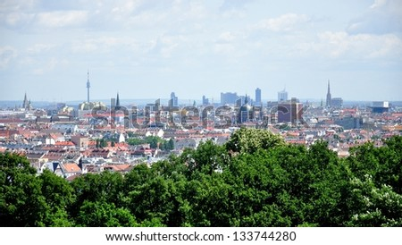 Panoramic view on Vienna roofs and spires, Austria