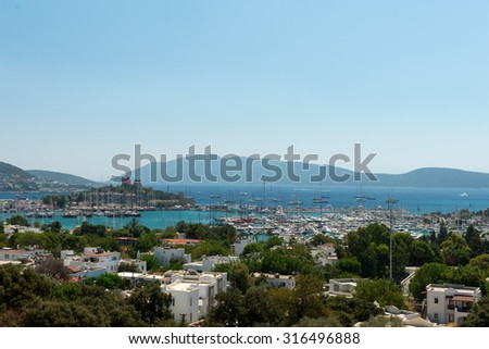 Panoramic view over Bodrum Castle and city - stock photo