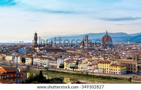 Panoramic view over cathedral of Santa Maria del Fiore in Florence, Italy
