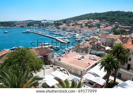 Panoramic view over Korcula old city on the side of the harbor, Croatia - stock photo