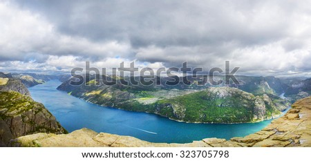 Panoramic view over Lysefjord. Norway. - stock photo