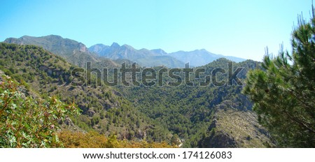 panoramic view over mediterranean rough mountain tops