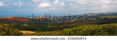 Panoramic view over open countryside from Agacli towards Kusadasi in Turkey - stock photo