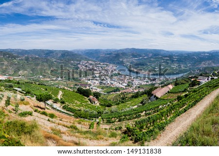 Panoramic view over River Douro, Regua city, Portugal, Europe - stock photo