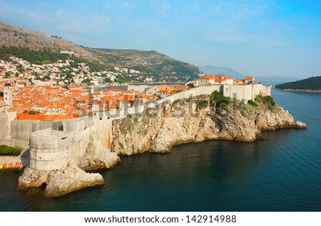 Panoramic view over the bay toward the old part of Dubrovnik in Dalmatia, Croatia and part of the island Lokrum in Adriatic Sea. - stock photo