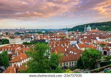 Panoramic view over the Praha Czech Republic - stock photo