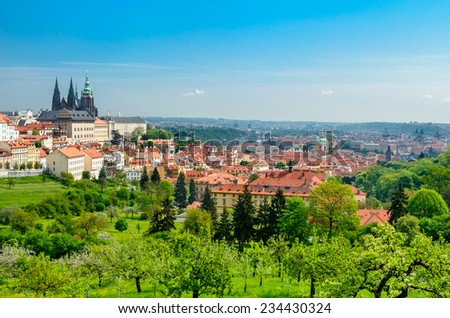 Panoramic view over the Praha with St. Vitus cathedral and Prague Castle, Czech Republic. - stock photo