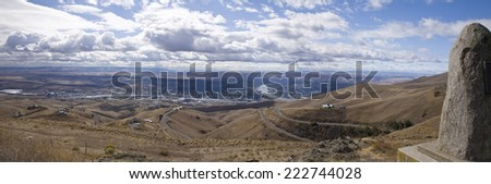 Panoramic view over the Snake River and the adjoining cities of Lewiston, Idaho and Clarkston, Washington - stock photo