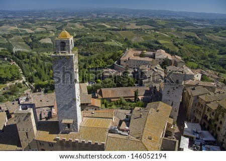 Panoramic view over the town San Gimignano from Tuscany, Italy